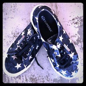 Navy velvet star Superga sneakers